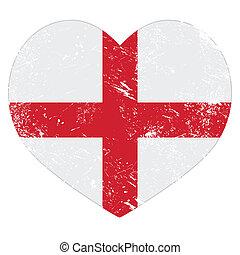 corazón, inglaterra, bandera, retro