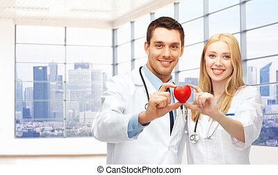 corazón, joven, cardiólogos, doctors, rojo, feliz