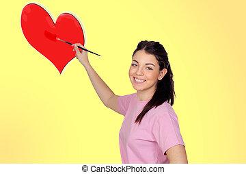 corazón, joven, cepillo, niña bonita, pintura, rojo