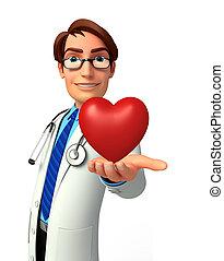 corazón, joven, rojo, doctor