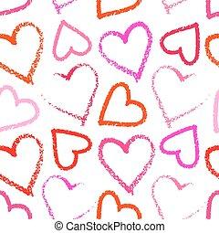 corazón, lápiz labial, seamless