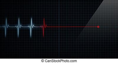 corazón, línea, muerte, monitor, plano