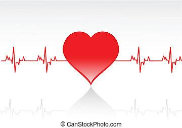 corazón, línea, vector