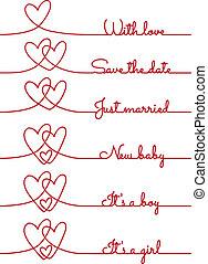 corazón, línea, vector, dibujos