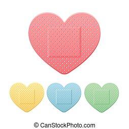 corazón la apariencia, yeso, remiendo, banda, vector, tira, ...
