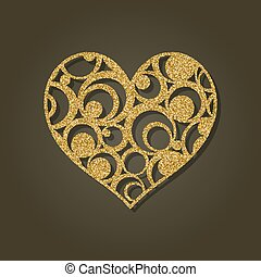 corazón, laser, illustration., oro, cutting.round, pattern.,...