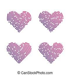 corazón, letra de dedo