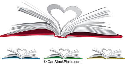 corazón, libro, páginas