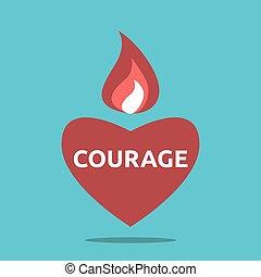 corazón, llama, valiente