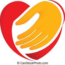 corazón, llevar a cabo la mano