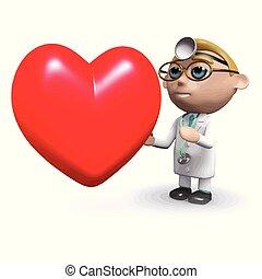 corazón, luego, 3d, doctor