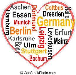corazón, más grande, alemania, palabras, ciudades, nube