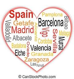 corazón, más grande, nube, palabras, ciudades, españa
