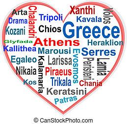 corazón, más grande, palabras, grecia, ciudades, nube