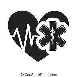 corazón, médico, cardiología, icono