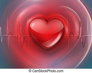 corazón, médico, plano de fondo, rojo