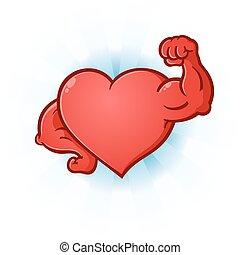 corazón, músculos, doblar, caricatura