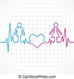corazón, macho, marca, hembra, latido del corazón, y