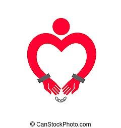 corazón, manos, handcuffs., en forma de corazón, hombre
