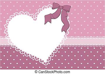 corazón, marco, álbum de recortes, plano de fondo