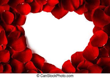 corazón, marco, de, pétalos