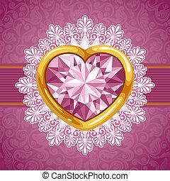 corazón, marco, diamante, dorado