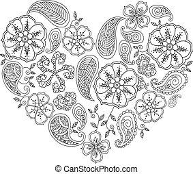 corazón, mehendi, aislado, forma, leafs, monocromo, flores