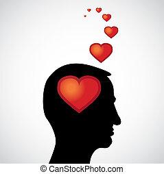 corazón, -, mente, ilustración