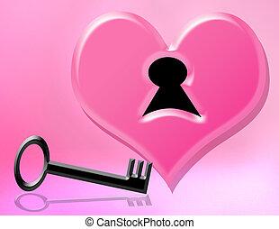 corazón, mi, llave