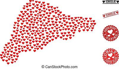 corazón, mosaico, mapa, de, isla de pascua, y, grunge,...