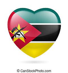 corazón, mozambique, icono