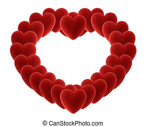 corazón, muchos, terciopelo, corazones, grande