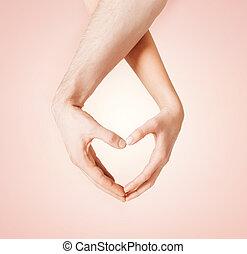 corazón, mujer, actuación, forma, manos, hombre