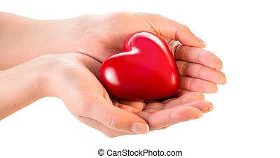 corazón, mujer, amor, dar, -, manos