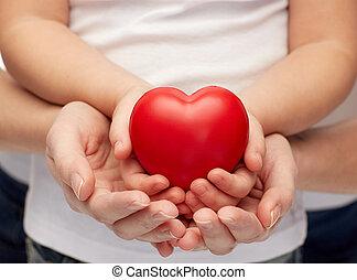 corazón, mujer, arriba, manos de valor en cartera, cierre,...
