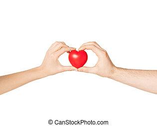 corazón, mujer, hombre, manos