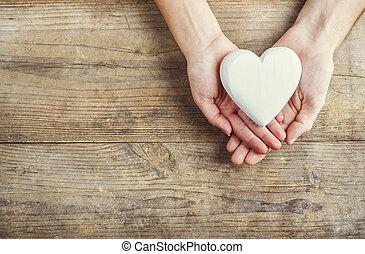 corazón, mujer, juntos., manos de valor en cartera, hombre