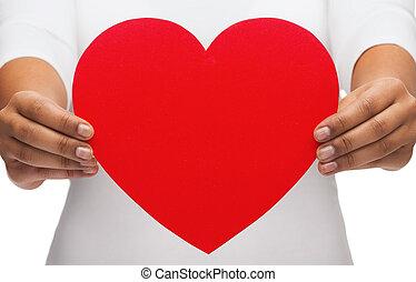corazón, mujer, primer plano, manos