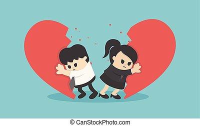 corazón, mujer, relación, pareja, arriba, ilustración, pelea, interrupción, roto, vector, hombre de negocios, hombre