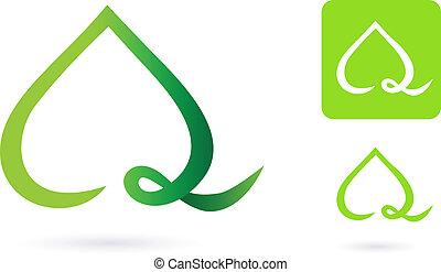 corazón, naturaleza, hoja, icono