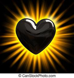 corazón negro, en, el, rayos de la luz