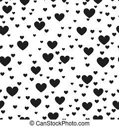 corazón, negro y blanco, vector, impresión, plano de fondo,...