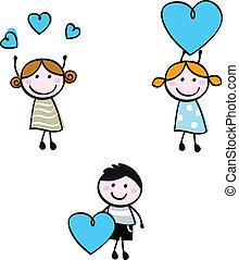 corazón, niños, garabato, figuras, palo, banderas