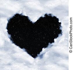 corazón, noche, nubes, cielo