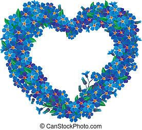 corazón, nomeolvides, flor