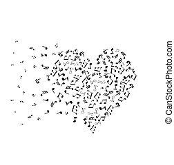 corazón, notas, musical