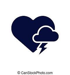 corazón, nube, tormenta, silueta, estilo