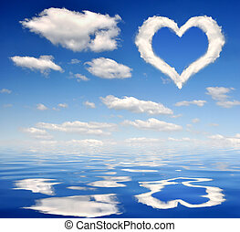 corazón, nubes