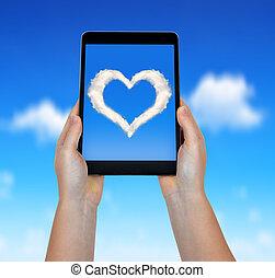 corazón, nubes, foto