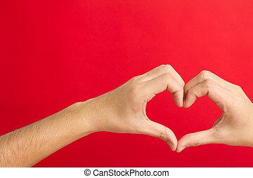 corazón, organización, manos
